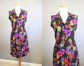 Floral Dress Vintage 1990s Black Grunge Mini Medium