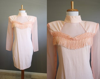 Fringe Dress Vintage Pink Bodycon Mini 80s Medium