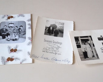 3 1950s Kitsch Christmas Cards Lot Vernacular Photography Family Photos B&W