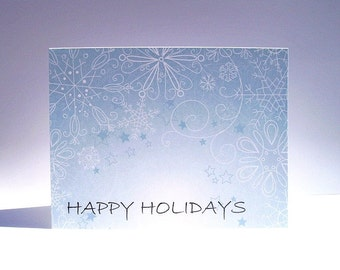 Holiday Card - Seasonal Snowflake Greeting Card, Happy Holidays, White Dusty Blue Stationery, Whimsical Festive Winter Holiday Card