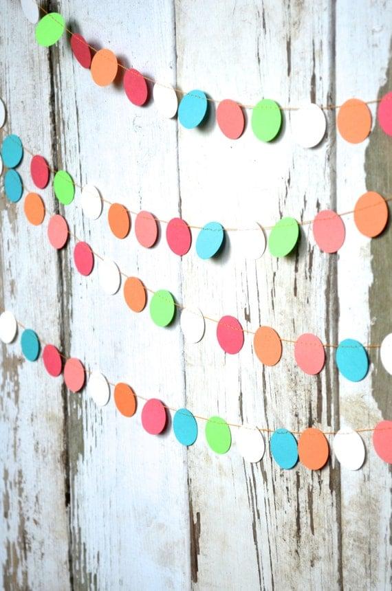 Coral, Aqua, Orange, Lime Green and Cream Confetti Circles Garland