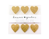 """Gold Glitter Heart Stickers 