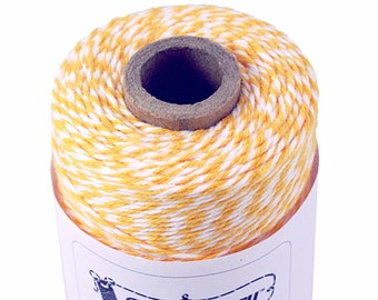 BOLD Bakers Twine 240 yard spool MARiGOLD YELLOW-ORANGE & White Twine String for crafting, gift wrapping, packaging, invitations