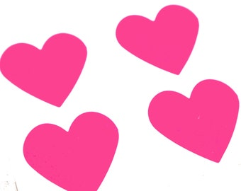 24 FLUORESCENT PINK large heart stickers - 1 1/2 inch Adhesive Labels - for packaging, gift wrapping, wedding invitations