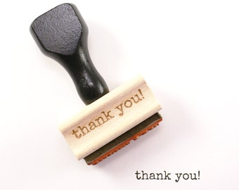 THANK YOU! typewriter font Wood Stamp  - stationery rubber stamp, thanks stamp, gift tag stamp