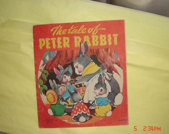 The Tale of Peter Rabbit  - Saalfield Publishing Co. 1942 - Cloth-like - FREE SHIPPING in the U.S.A.
