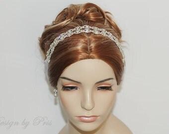 HPH4DR  Bridal Hairpiece Wedding Accessories. Wedding Headband Bridal Ribbon Rhinestone Headband - Double Row of Rhinestone Ribbon Headband