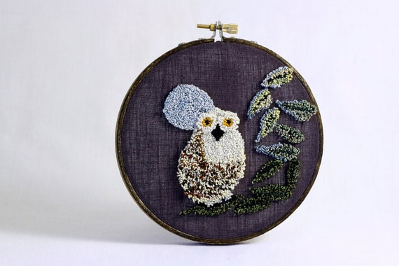 Owl with Full Moon Eco Friendly Punch Needle Embroidery Hoop Art. 5 Inch Embroidery Hoop. Bird, Woodland. Grey, Cream, Green