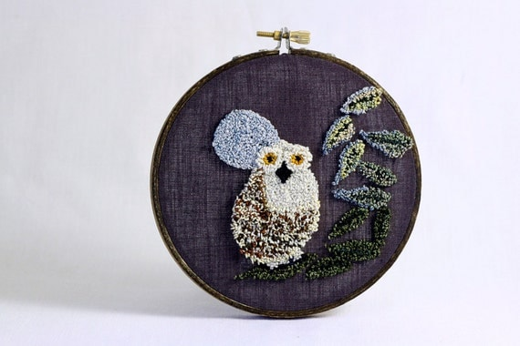 Owl with Full Moon Eco Friendly Punch Needle Embroidery Hoop Art. 5 ...
