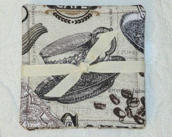 Reversible Cotton Fabric Coasters - Set of (4) four - Coffee Theme - Brown Tan Cream
