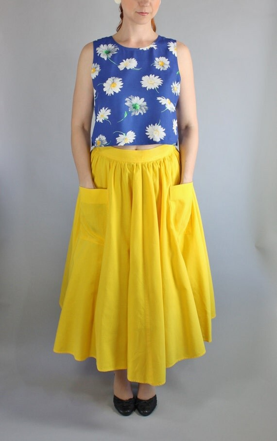 vintage 80s does 50s bright yellow midi skirt by gogovintage