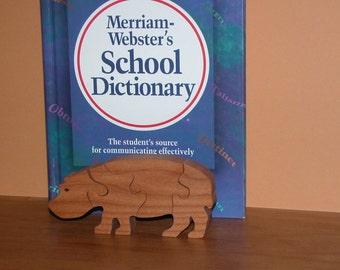 Toy Hippopotamus - Child's Puzzle - Wooden Hippo Puzzle - Child's Decor - Kid's Toy