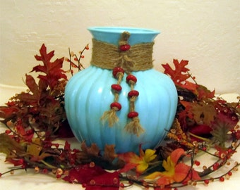 Large Painted AQUA GLASS VASE With Jute Trim and Rust Color Cramic Beads  by Valsunique