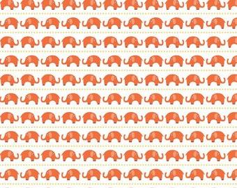 Boy Elephants in Orange  - 1 yard -  by Riley Blake Designs.
