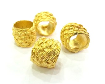 2 Pcs (15x13 mm)  Tube Beads , Gold Plated  Brass  G2994