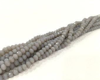 135 Pcs (4x3 mm)  Gray  Rondelle Faceted Glass Beads , 1 strand approx 45 cm ( approx 17,5 inch)  G6728