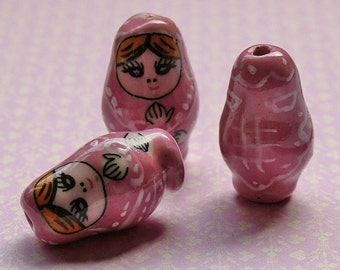Pink Matryoshka Russian doll beads set of 5
