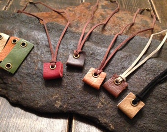 Leather Essential Oil Diffuser Necklace with 3 leather grommet pads-Aromatherapy Necklace