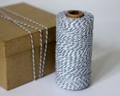 Steel Stone Grey & White Bakers Twine - 10 metres - Perfect for Christmas Gift Wrapping or Crafts