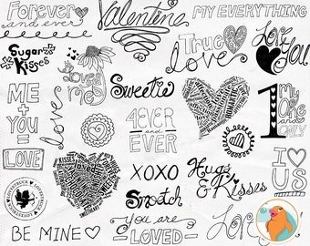 Valentine Word Art, Valentine Doodles, Love Quotes & Sayings, Scrapbooking Titles for Invitations, Photoshop Brush + PNG Line Art