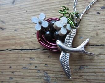 Bird Nest Necklace, Wire Wrapped Bird Nest Pendant, Nest with Fresh Water Pearl Eggs, Bird Nest Jewellery, Bird Watcher Gift