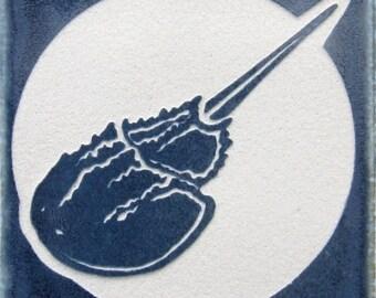 4x4 Horseshoe Crab - Etched Porcelain Tile - Coaster - SRA