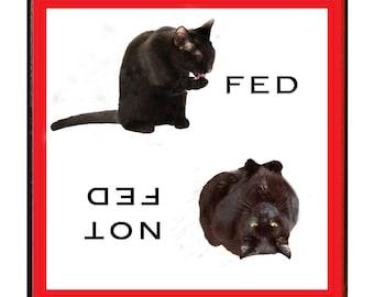 Black Cat Refrigerator Magnet, Funny Cat Gifts, Feed Me, Fridge Magnets, Kitchen Magnets, Cat Artwork, Deborah Julian