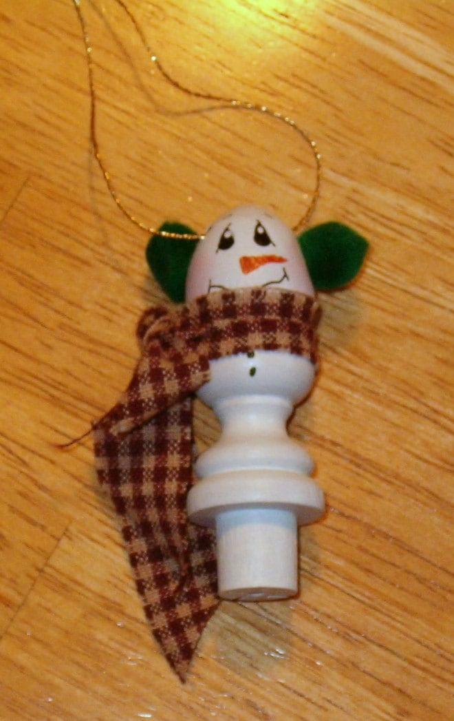 Wood Painted Handcrafted Whimsical Snowman Ornament
