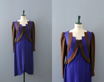 Vintage deadstock dress. 70s/80s violet brown dress