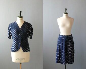 Vintage silk dress. polka dots suit set. 1960s set. blue silk blazer skirt set