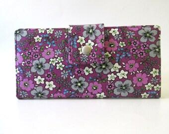 ON SALE - Handmade women's wallet clutch A small garden - Flowers in grey - magenta - ID clear pocket -  Ready to ship