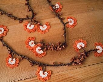 crochet lariat necklace, orange white brown