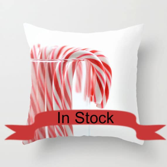 Christmas Decorative Pillow Cover Candy Cane by CrystalGaylePhoto