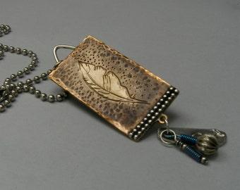 Bronze Inspirational Feather Pendant