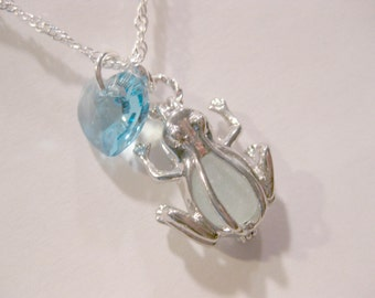 Frog Necklace Sea Glass Frog Locket Necklace sea glass jewelry Beach Glass Jewelry Handmade, Custom Jewelry