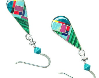 Southwest gemstone earrings sterling silver inlaid Zuni-style