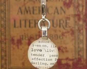 Love Dictionary Word Clip-on Charm Antique Vintage Look Gift by Kristin Victoria Designs