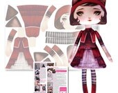 Wolfy Red - Cut and Sew Printed Fabric Art Cloth Doll Pattern Kit