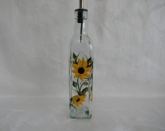 Oil bottle,Oil bottle with Sunflowers,oil decanter,oil container,oil and vinegar dispenser,oil dispenser,glass oil bottle