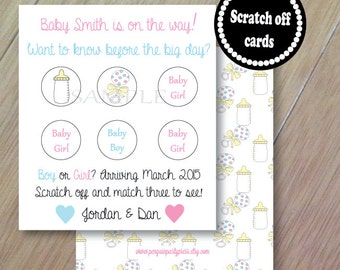 Gender Reveal, Set of 12 Scratch off Cards for a Baby Shower or Gender Reveal Party