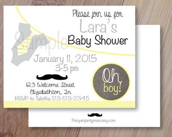 Mustache Baby Shower,  Set of 10 Printed Birthday Invitations, Personalized