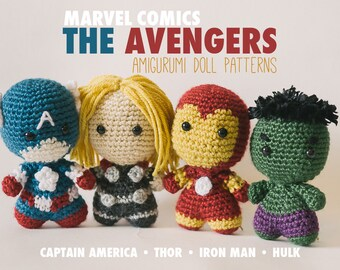 The Avengers Amigurumi Dolls inspired by Marvel Comics // Marvel Crochet Pattern Combo Pack // Instant Download