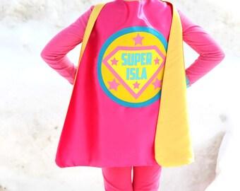 Kids  Personalized Superhero Cape - FULL NAME Custom Shield Cape - Make Believe Gift - Superhero Party - Fast Shipping - Halloween Costume