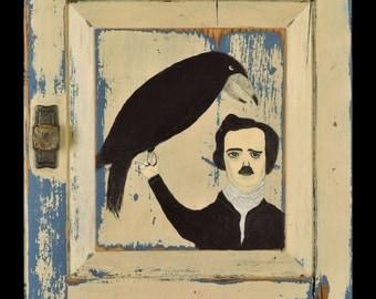 Edgar Allan Poe Folk Art Painting