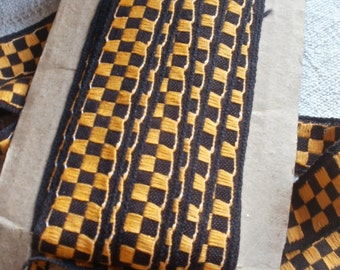 Vintage Trim, Woven Tape/ 3 yards Black & Yellow Trim Commedia dell'arte Circus Style/ Last in stock!