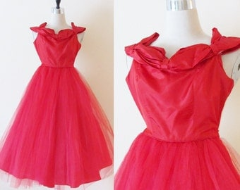 Vintage 1950's Red Party Dress / Red Tulle & Satin Midi Prom Circle Skirt Nipped Waist / Couture Bombshell Cupcake Dress Size XS