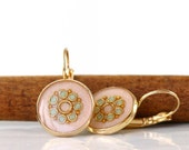 FREE SHIPPING - Light pink earrings  , Gold round earrings ,  Antique pink and mint dots ,  gold plated brass nickel free , leverback