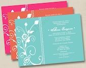 Elegant Swirls Custom Bridal Shower or Save the Date Announcement Design