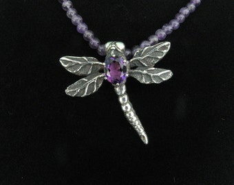 Dragonfly Pendant with Amethyst