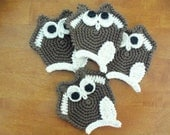 Crochet Owl Coasters - 4 Unique brown and white coffee table Owl Coasters